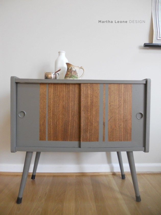 Gray and raw wood mid century record cabinet