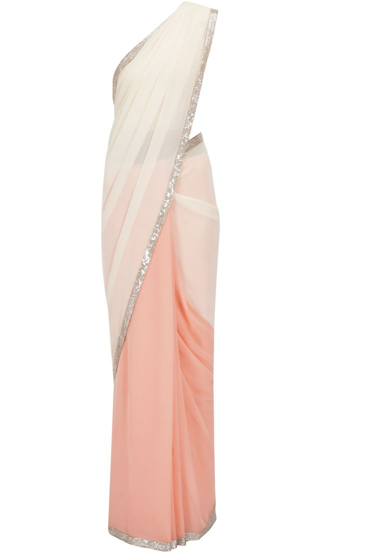 Peach and nude seqin embroidered border sari with chantilly blouse available only at Pernia's Pop-Up Shop.