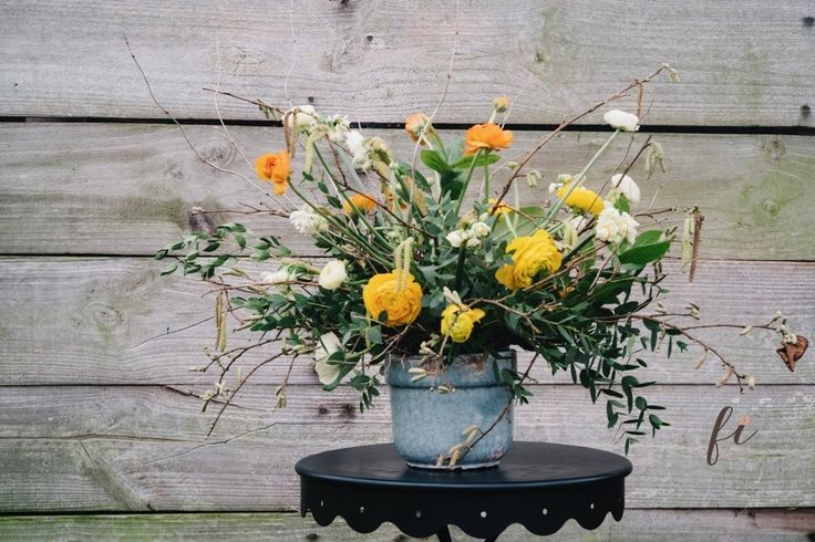 Narcissi cream cheerfulness with catkins picked from the hedgerows