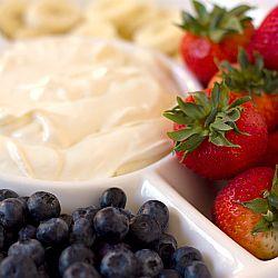 Fruit Dip  Fruit Dip:  8-oz cream cheese at room temp and 7-oz jar marshmallow cream.  Stir together.  Serve with favorite fruit.
