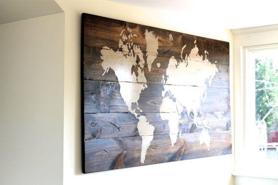 Mappemonde signe signe Custom panneau en bois Art par UnruhSigns