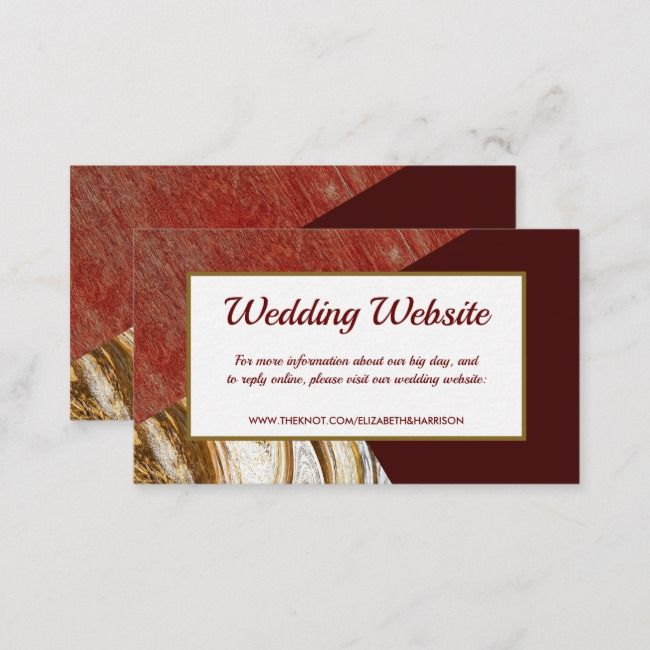 Red Gold Deluxe Vintage Wedding Website Enclosure Card Zazzle Com Wedding Website Wedding Website Card Vintage Wedding