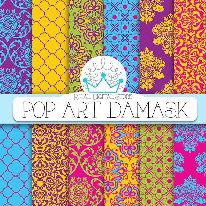 "Damask digital paper: "" Pop Art Damask"" with damask background, instant download, scrapbook paper, background digital paper for cards #damask #rainbow #planner #digitalpaper #partysupplies #pink #blue #yellow #scrapbookpaper"