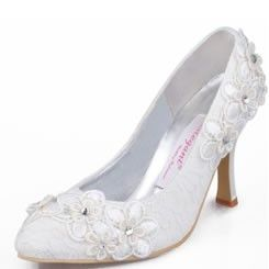 [$75.99] Lace Upper with Flower Appliques and Rhinestone Bridal Shoes