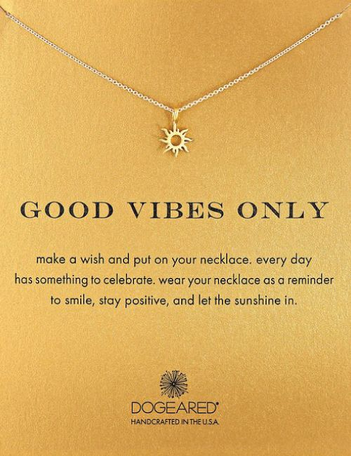 Good Vibes Only Pendant Necklace by Dogeared. Versatile gift for girls and boys alike. This gorgeous necklace is a great gift for teens and tweens. Meaningful graduation gift.