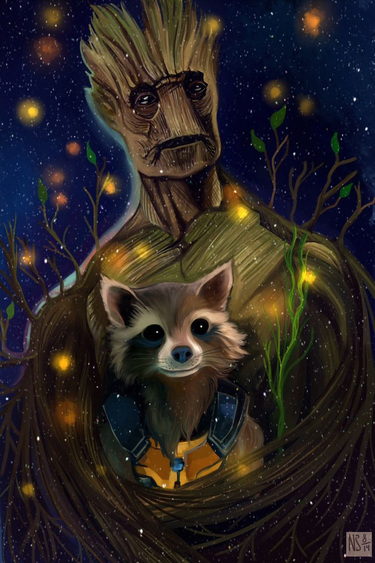 Fan art of 'Groot' and 'Rocket' from 'Guardians Of The Galaxy' (2014)