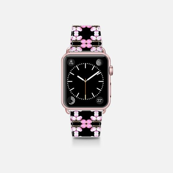 pink pearls on black - Saffiano Leather Watch Band