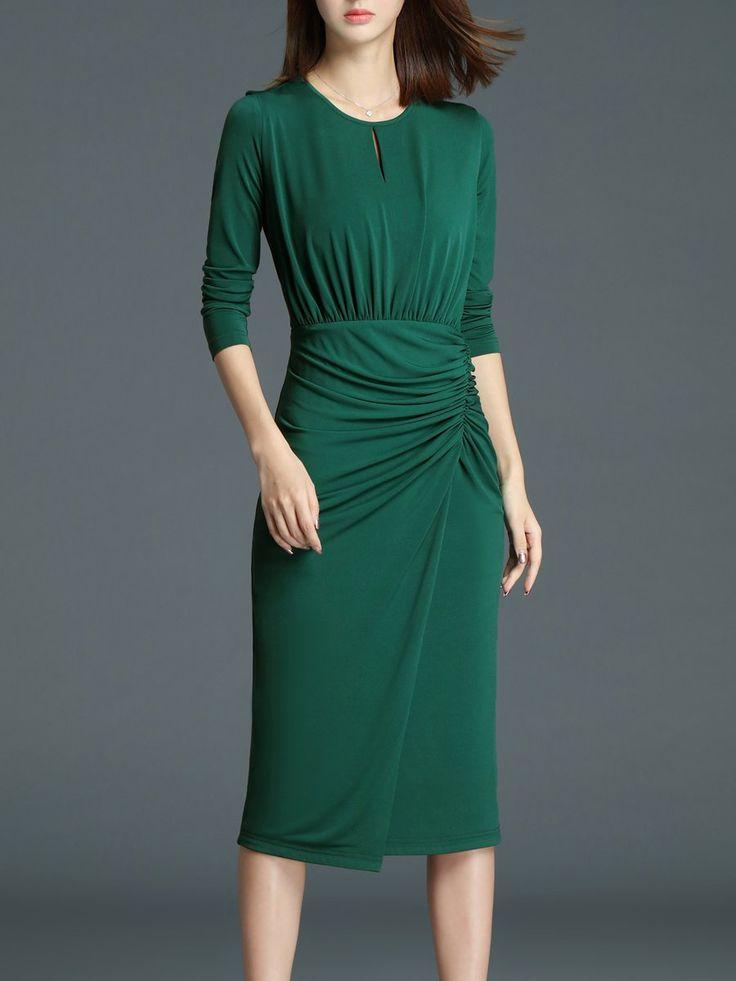 Shop Midi Dresses - Green Elegant Pleated Midi Dress online. Discover unique designers fashion at StyleWe.com.