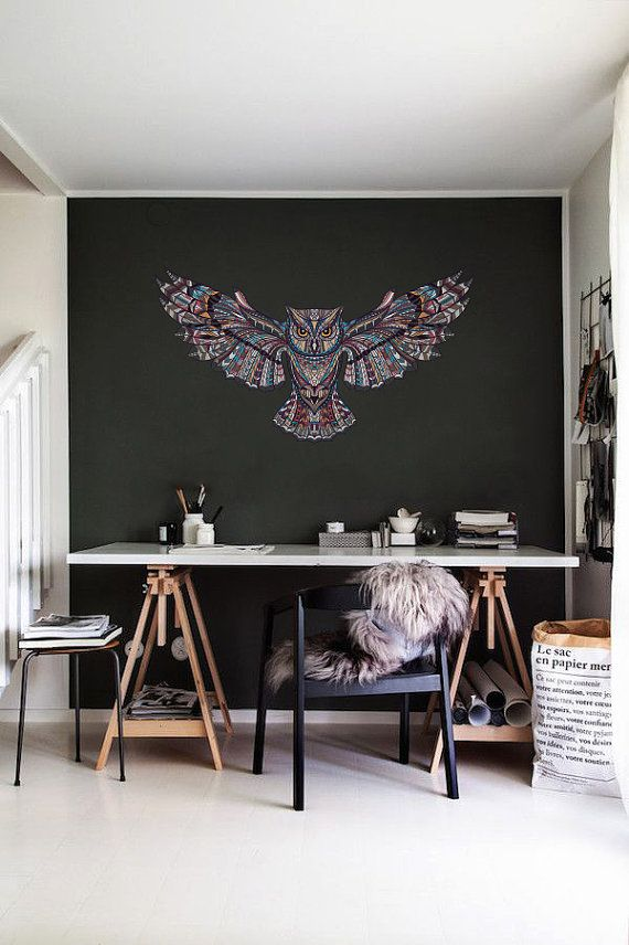 Boho Style Wall Decal | Bohemian Style Patterned Owl Wall Decal | Wall Decal | Vinyl Wall Sticker- OM012