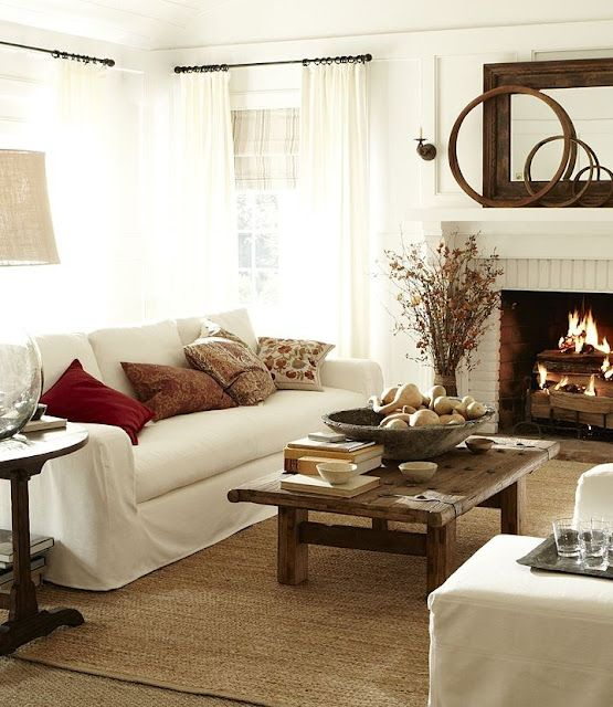 simple living room - love the coffee table