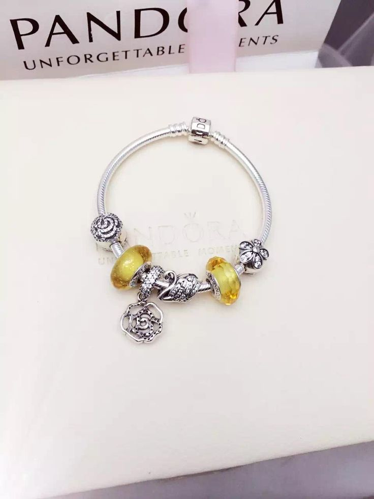 Perfect $179 Pandora Charm Bracelet Yellow. Hot Sale!
