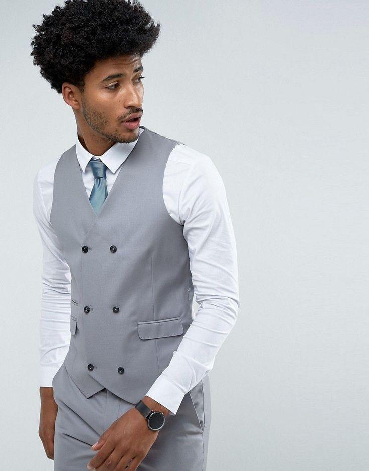 ASOS Slim Suit Vest in 100% Wool in Mid Gray - Gray