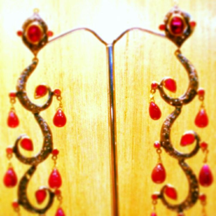 Made to order - exclusive piece #earrings #rosecut #diamonds #ruby #silver #gold Instock now #craftsandlooms - creative@craftsandlooms.com #premium