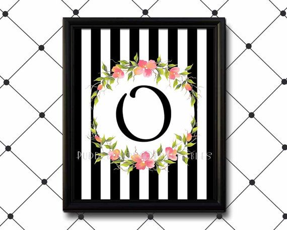 PuddleduckPrintables - printable monogram for little girl;s room to adult room, black and white stripes with pink floral swags - $8