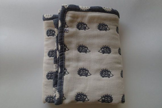 Hedgehogs blanket navy soft blanket baby blanket gauze by AYU123