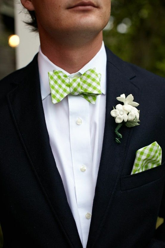 apple green & white gingham bow  tie
