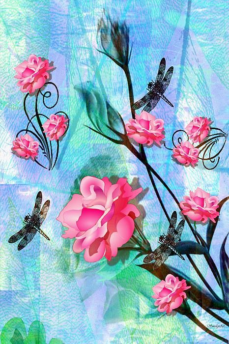 A SmudgeArt contemporary digital oil painting of striking pink roses and dragonflies...