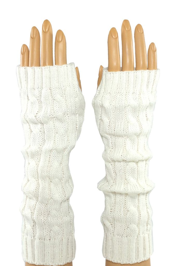 White Braided Knitted Opera Length Fingerless Glove Stroke me, stroke me! Or so the song goes... And yes, the faux fur on these pups is as soft as it looks. Perfect for brushing that snowflake from your cheek when the rest of your world is making you chapped and raw. #fingerless #fashion #crochet