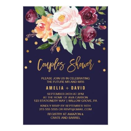 #bridal #shower #invitations - #Autumn Floral with Wreath Backing Couples Shower Card