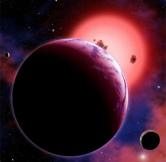 "Super Earth Exoplanets More Earth Like Than Thought. The planet GJ 1214b, shown here in an artist's conception with two hypothetical moons, orbits a ""red dwarf"" star 40 light-years from Earth. GJ 1214b has a radius of about 2.7 times that of Earth and is about 6.5 times as massive, putting it squarely into the class of exoplanets known as Super-Earths. Image credit: CfA/David Aguilar."