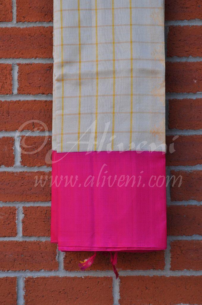 Silver Grey Kuppadam Tissue Saree with Yellow Checks & Broad Pink Border