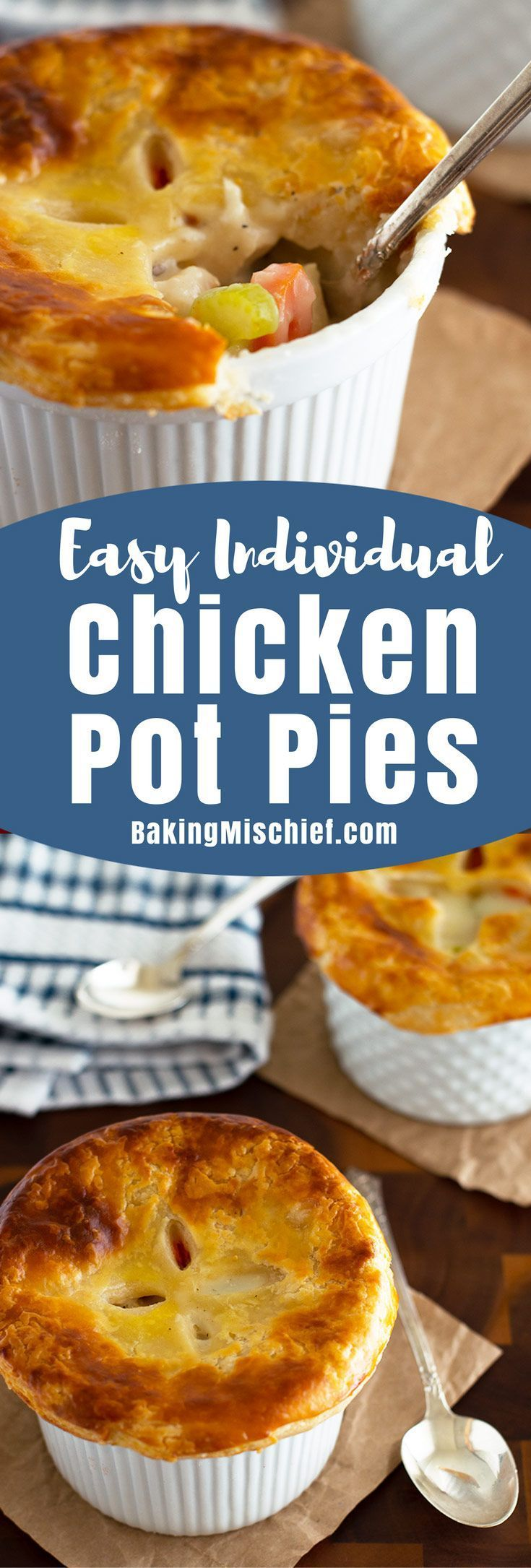 Individual Chicken Pot Pies are a perfect easy dinner for two, stuffed with chicken, carrots, and celery, and topped with a delicious flaky buttermilk crust. From http://BakingMischief.com