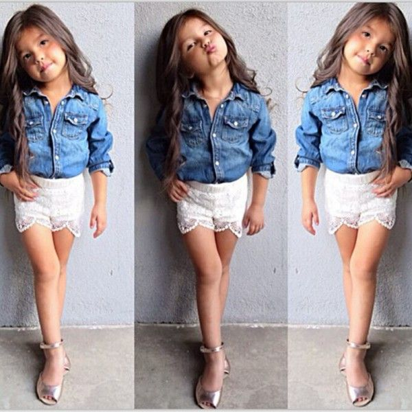 >> Click to Buy << Baby Girls Kids Jeans Denim Tops Shirt+ Lace Short Pants Set Outfits Clothing 2pcs #Affiliate