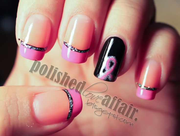 197 best Breast Cancer Awareness Nail Art images on Pinterest | Nail ...