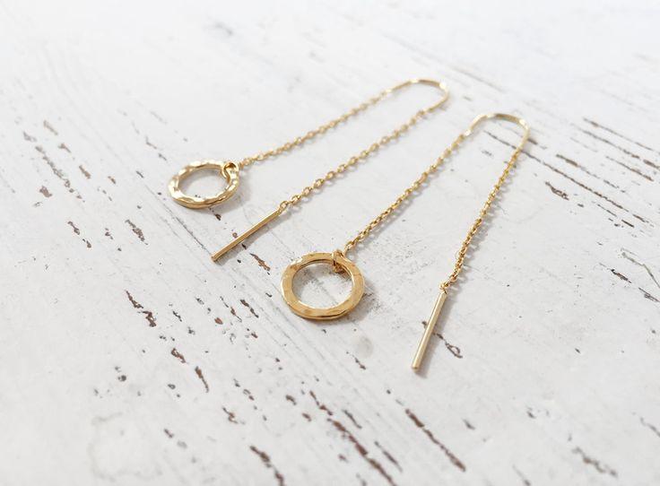 Vergoldete Ohrringe - Threader Ketten Ohrringe Kreis gehämmert vergoldet - ein Designerstück von BelleEtBete bei DaWanda