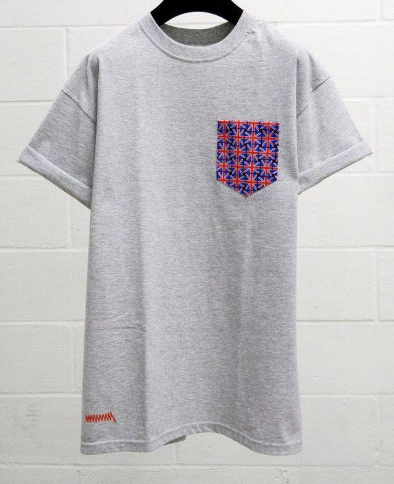 Men's Union Flag Pattern Grey Pocket T-Shirt by HeartLabelTees