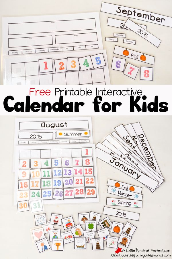 Cute Free Printable Calendar for Circle Time with Kids | A Little Pinch of Perfect