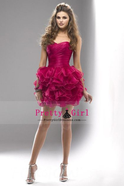 2015 Lovely Homecoming Dresses Ball Gown Sweetheart Short/Mini Organza