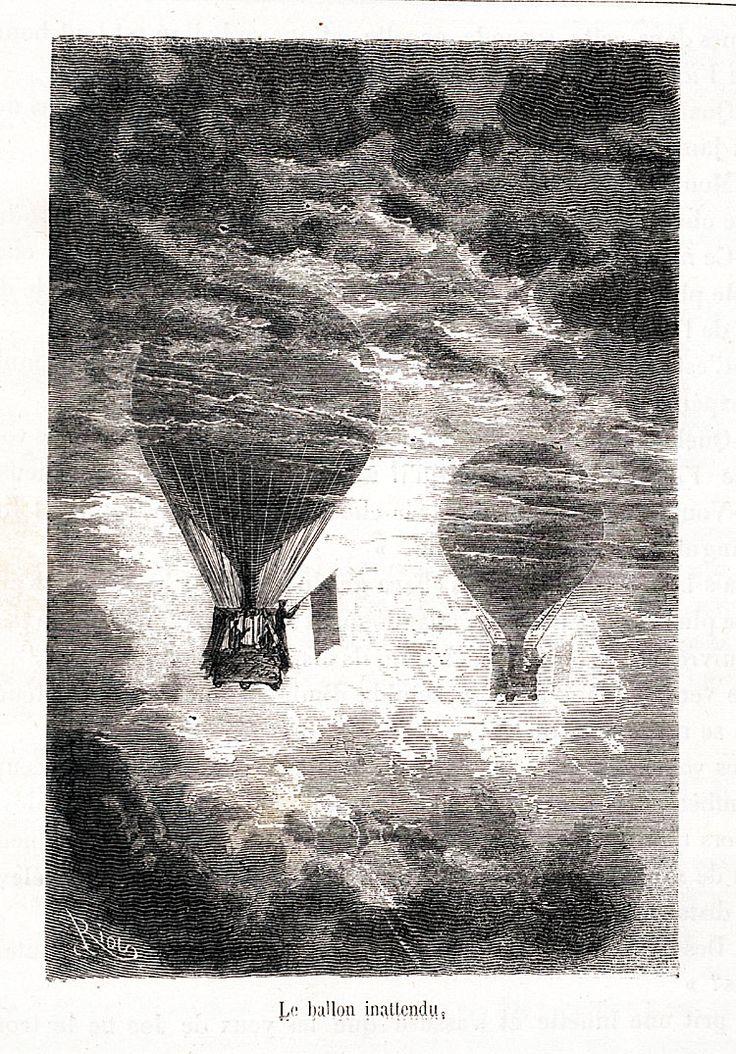 Le ballon inattendu, ill. pour Cinq semaines en ballon de Jules Verne:
