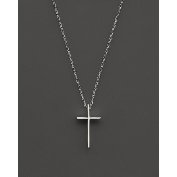 14K White Gold Small Cross Pendant Necklace, 18 (7,000 THB) found on Polyvore featuring women's fashion, jewelry, necklaces, gold, cross jewelry, white gold crucifix necklace, white gold jewellery, 14k cross necklace and pendant necklace