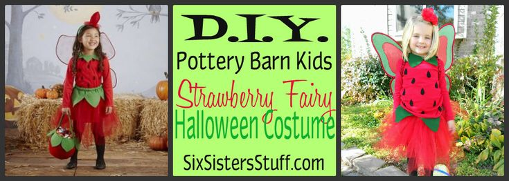 Pottery Barn Kids Strawberry Fairy Costume from sixsistersstuff.com. Check out this awesome tutorial and make this darling costume for a fraction of the price it would cost to buy! #halloween #costume
