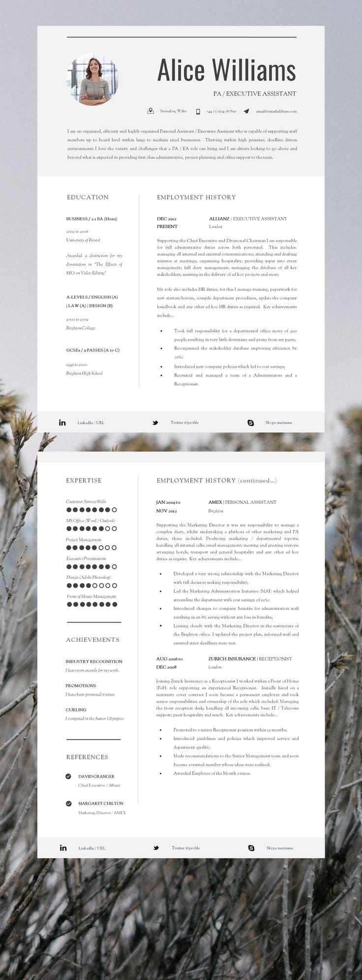resume template creative resume template two page professional resume cover letter advice printable word resume the finsbury