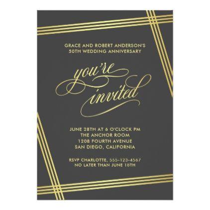 Modern Elegance 50th Wedding Anniversary Party Card
