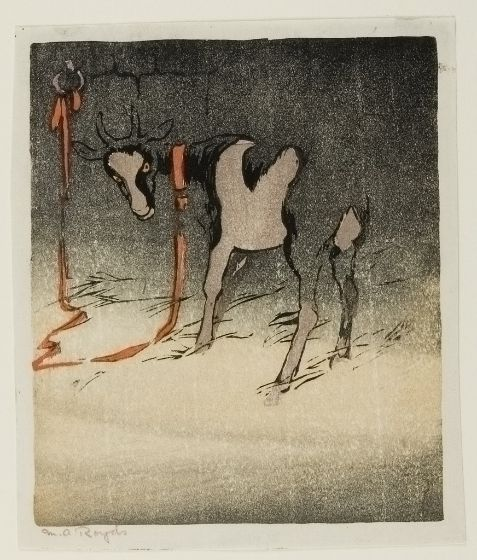 The Red Tether | Mabel Royds | woodcut