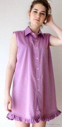 upcycled ladies shirt dress -US 6/8 EU 38/40