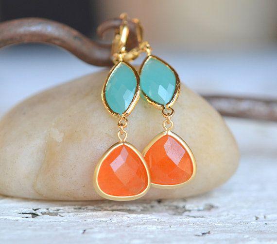 Burnt Orange Teardrop and Turquoise Oval Dangle Earrings. Fall Fashion Earrings. Tangerine Orange Earrings. Christmas Gift. Holiday Gift.