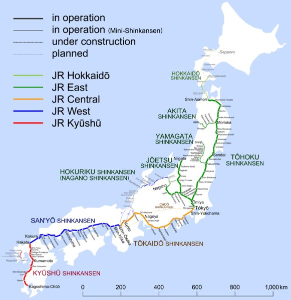 The Shinkansen (bullet train) network, including routes that are planned or…
