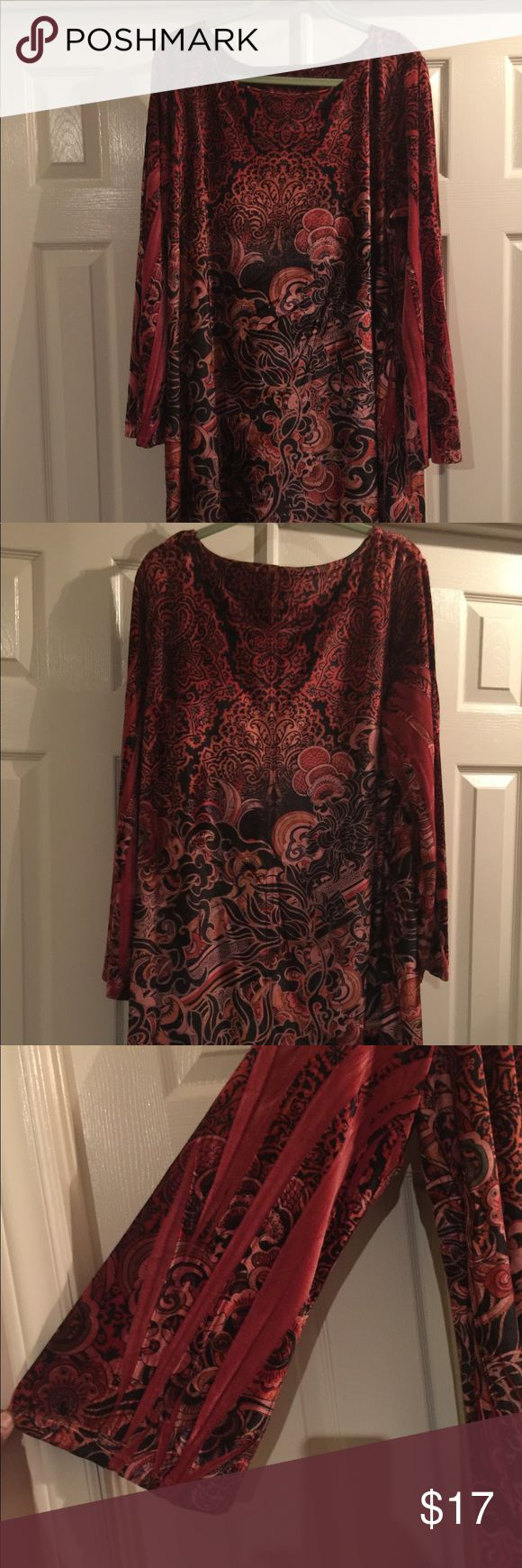 Velour dress Comfortable, red paisley dress Cato Dresses Long Sleeve