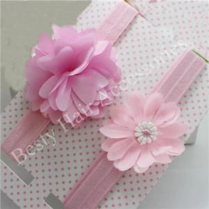 Baby pink Flower Elastic Headbands