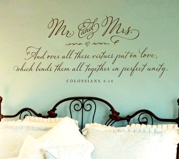 Bedroom Wall Decor   Mr. And Mrs. Wall Decal   Colossians 3:14