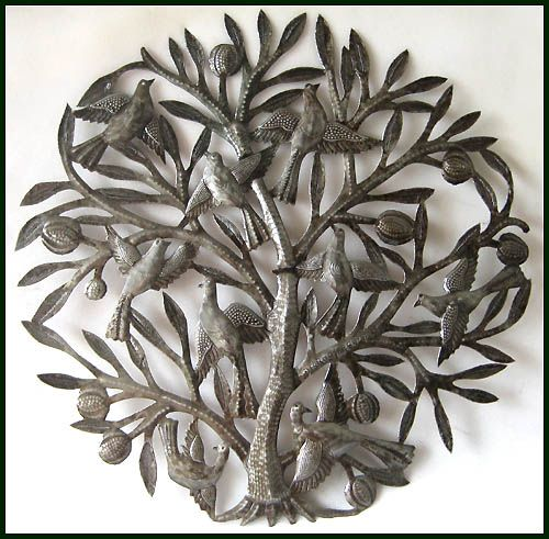 Handcrafted Tree of Life - Haitian Metal Drum Art Wall Sculpture - 24 _ $84.95 -   Steel Drum Metal Art from  Haiti - Interior or Garden Décor   * Found at  www.HaitiMetalArt.com