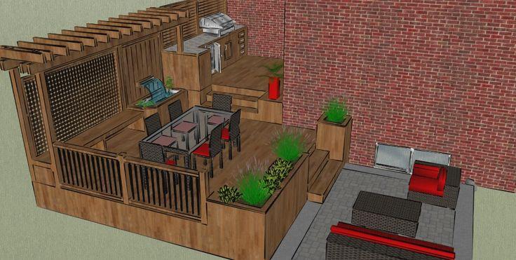 plan de patio avec piscine hors terre recherche google ext rieur pinterest patios. Black Bedroom Furniture Sets. Home Design Ideas