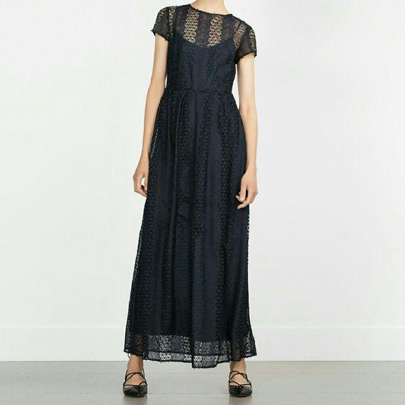($49 thru offer button)Zara dress Lined. Long. Beautiful. Have blue Zara Dresses Maxi