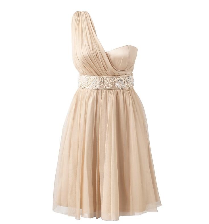 Forever New Pleated Cream Dress