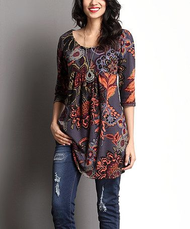 Another great find on #zulily! Charcoal Floral Empire-Waist Tunic by Reborn Collection #zulilyfinds