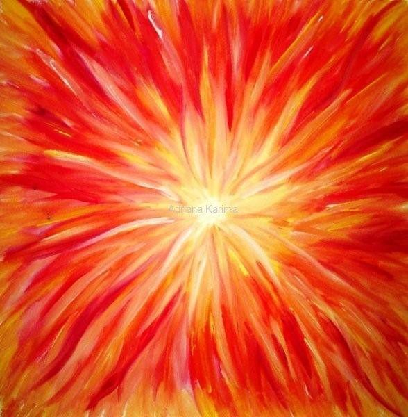 Ogień 2008  Adriana Karima Rozmiar oryginału 50 cm x 50 cm  Obraz tętniący energią. Jeśli potrzebujesz dodatkowej dawki energii, zaproś ten obraz do Twojego Domu.   Oryginał obrazu na sprzedaż  Dostępne reprodukcje obrazu